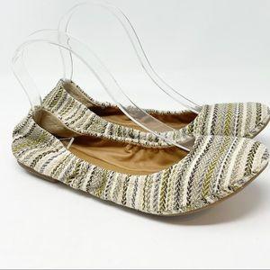 🍀LUCKY BRAND LK-EMMIE Striped Woven Ballet Flats